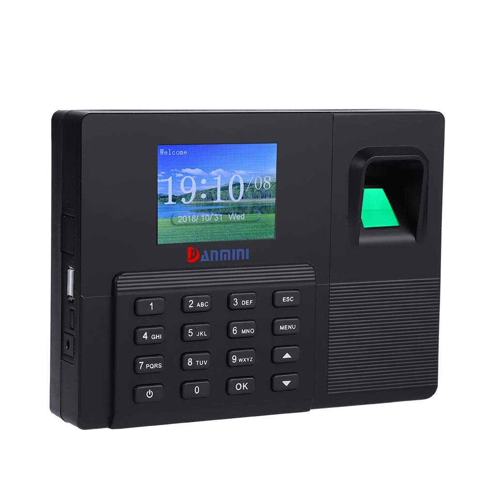 2.8''TFT LCD Fingerprint Password Attendance Machine Employee Attendance Recorder Time Clock Machine 1000 User for Office/Home (US Plug)