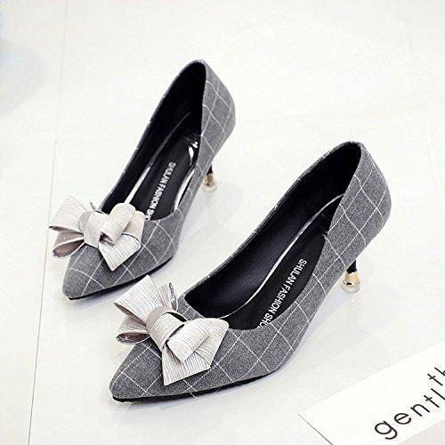 fina de alto chica punta Xue la zapatos con 38 de Qiqi gris pajarita A luz la solo de los zapatos tacón wild qI6FI
