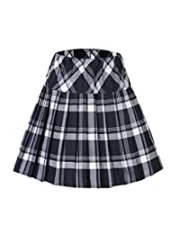 Urban CoCo Women's High Waist Pleated School Tartan Mini Plaid Skirts