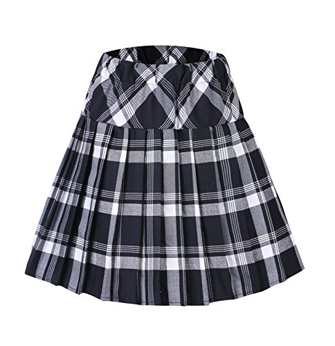 Urban CoCo Women's Elastic Waist Tartan Pleated School Skirt (Small, Series 1 White)