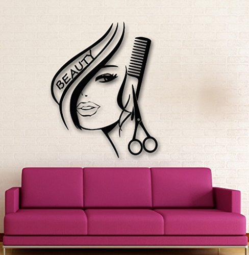 Cukudy Hair Salon Removable Vinyl Wall Decal Sexy Girl Hair Beauty Salon Wall Stickers Home Decoration