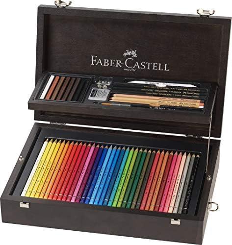Faber-Castell 110086 - Estuche de madera de 108 piezas con equipo básico de las 3 gamas, ecolápices polychromos, tizas, grfitos y accesorios: Amazon.es: Oficina y papelería