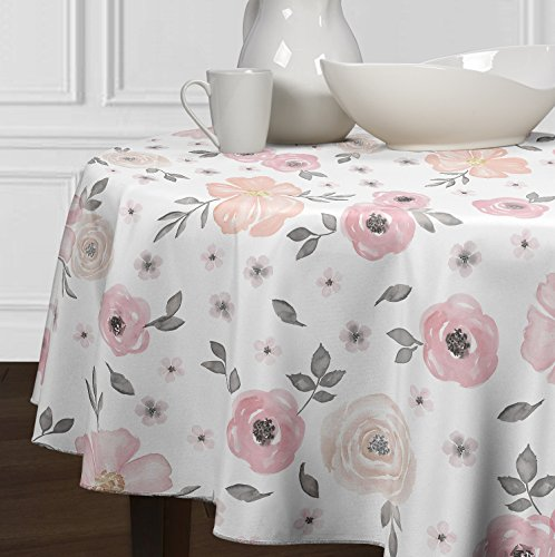 Floral Round Rose - A LuxeHome Blush Pink, Grey and White Shabby Chic Watercolor Rose Floral Tablecloths Dining Room Kitchen Round 72