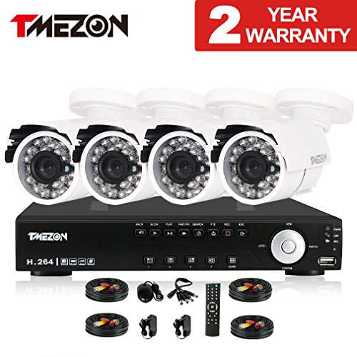 TMEZON 4CH Channel Full 960H Realtime HDMI DVR 800TVL Cameras IR Cut Outdoor CCTV Surveillance Security System P2P Scan Mobile iPhone View Remote Access