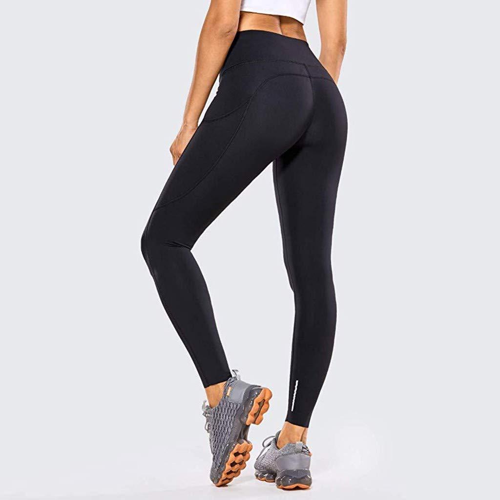 SuperXC Women\'s High Waisted Solid Color Leggings Full-Length/Seven Points Pocket Workout Yoga Pants Black