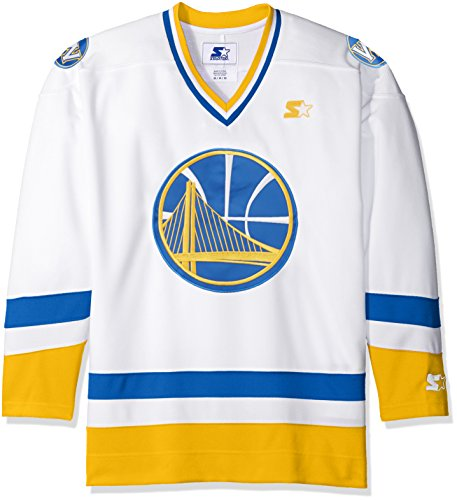 NBA Golden State Warriors Hockey Inspired Fashion Jersey, Large, White