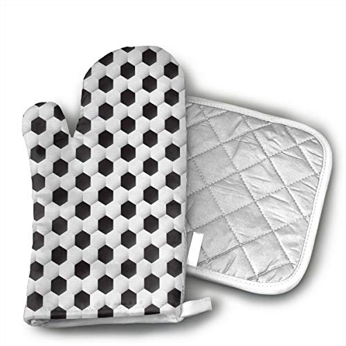 (BenteLi Geometrical Soccer Ball Oven Mitts,Professional Heat Resistant Microwave Oven Insulation Thickening Gloves Soft Inner Lining Kitchen Cooking Mittens)