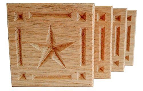 SET OF 4:Carved 5-Point Star w/Border Rosette Blocks, Made in USA (3.5