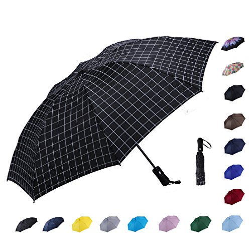 Sun Plus Travel System - NOOFORMER Automatic Inverted Folding Umbrella - Compact Lightweight Windproof Travel Reverse Car Umbrellas for Men Women Multiple Colors