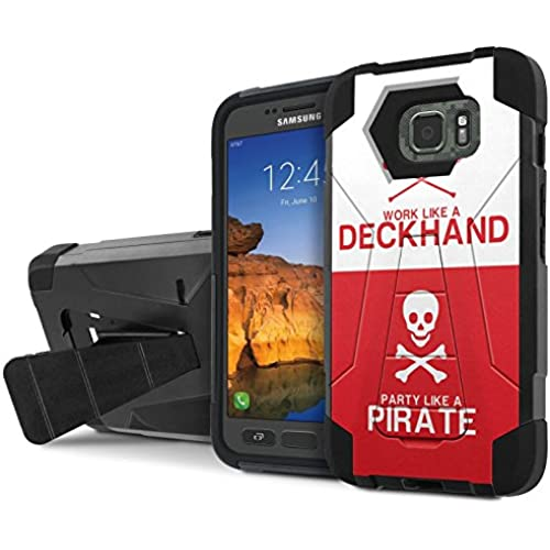 AT&T [Galaxy S7 Active] Armor Case [NakedShield] [Black/Black] Tough ShockProof [Kickstand] Phone Case - [Pirate Deckhand] for Samsung Galaxy [S7 Active] Sales