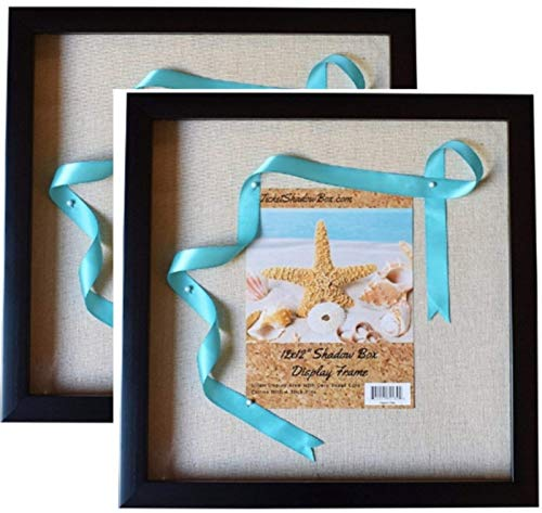 "12x12"" Display Shadow Box Frame (2-pack) with Linen Background and 16 Stick Pins - Ready To Hang Shadowbox Picture Frame - Easy to Use - Box Display Frame, Baby and Sports Memorabilia Wedding Baby"