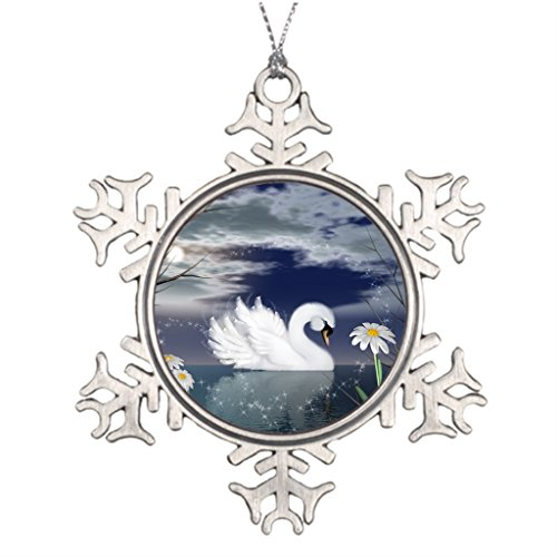 corating Christmas Trees swan pin badge - enchanted swan digitally painted Painted Pewter Snowflake Ornaments ()