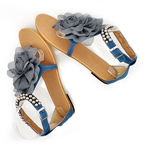 Summer Lady Flower Quality Sexy Blue Fashion Flat Ladies Sandals Women LongFengMa Shoes Female 5vEn8O5x