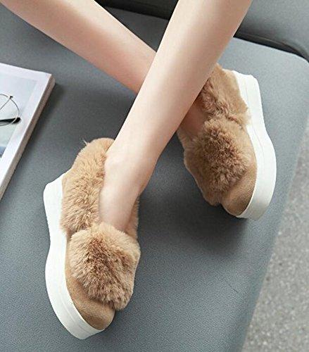 Idifu Mujeres Unique Fluffy Fur Mid Wedge Tacones Plataforma Zapatillas Low Top Slip On Frost Mocasines Zapatos Albaricoque