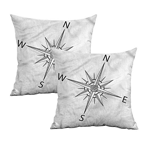 Khaki home Compass Square Slip Pillowcase Sea Marine Life Theme Square Pillowcase Covers with Zipper Cushion Cases Pillowcases for Sofa Bedroom Car W 24