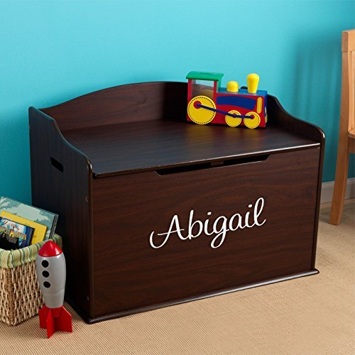 Modern Touch Personalized Girls Toy Box - Espresso with Custom Font Choices by DIBSIES Personalization Station