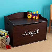 Modern Touch Personalized Girls Toy Box - Espresso with Custom Font Choices