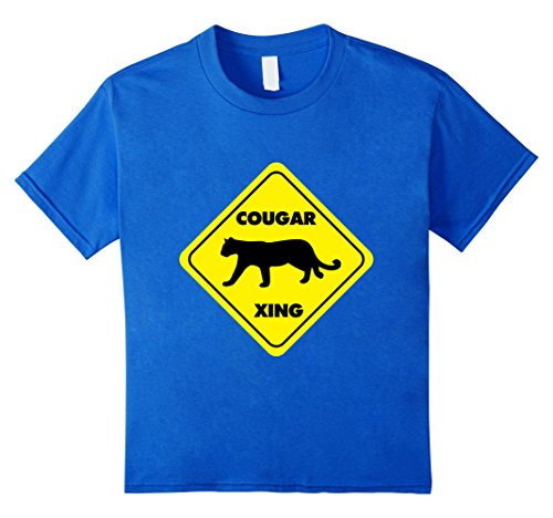unisex-child Cougar Xing (crossing) T-shirt 4 Royal ()