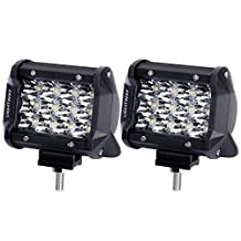 Liteway 2X36W 4Inch Tri-row Osram LED Light Bar Spot Beam Cube Work Light 3600LM Driving Pods Offroad Daytime Running Lamp for SUV Boat 4x4 Jeep 4WD ATV Windshield Mount, 1 Year Warranty