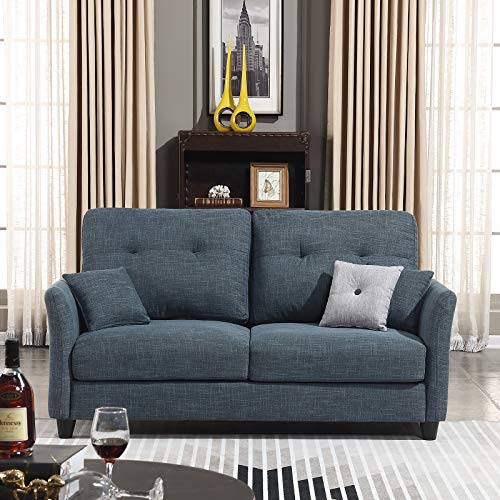 - HONBAY Contemporary Upholstered 61'' in Sofa Couch Loveseat, Dark Grey