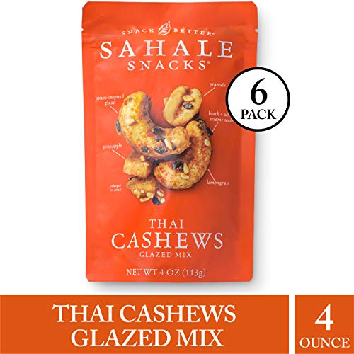 Sahale Snacks Thai Cashews Glazed Nut Mix - Healthy Snacks in a Resealable Pouch, No Artificial Flavors, Preservatives or Colors, Gluten-Free Snacks, 4 Ounce (Pack of 6) (Best Wine To Have With Curry)