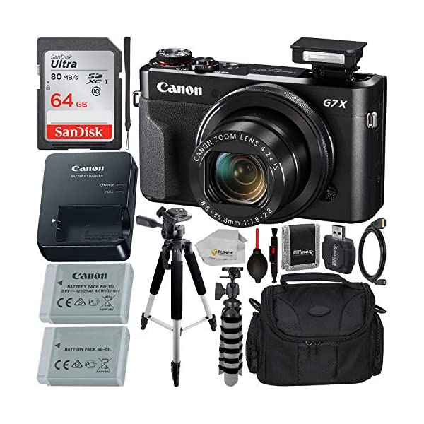Canon PowerShot G7 X Mark II Digital Camera (Black) with Essential Accessory Bundle...