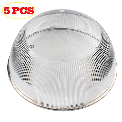 BBESTLED 320W LED UFO High Bay Lighting Diffuser Acrylic Reflector (Clear with Cover) 5-Pack
