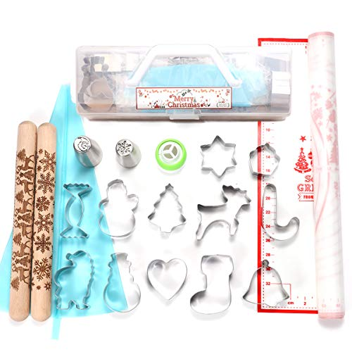 34 Pcs - Cake Cookie Decorating Supplies, 12 Christmas Baking Cutters, 16 Russian Piping Tips, 2 Embossed Rolling Pins, Pastry Mat, Reusable Icing bag and Tri-Color Coupler Included with Storage Case (Cookies Russian Christmas)