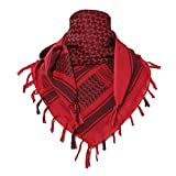 TACVASEN Head Wraps Shemagh Arab Tactical Keffiyeh Scarf Wrap Red
