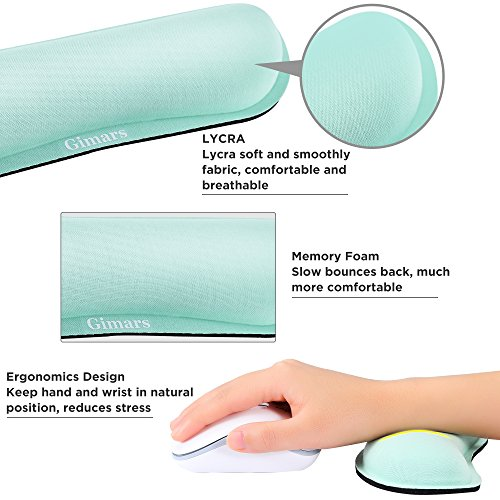 Gimars Superfine Fiber Widen Memory Foam Set Nonslip Mouse Pad Wrist Support & Keyboard Wrist Rest Support for Office, Computer, Laptop & Mac & Comfortable & Lightweight for Easy Typing & Pain Relief by Gimars (Image #3)'