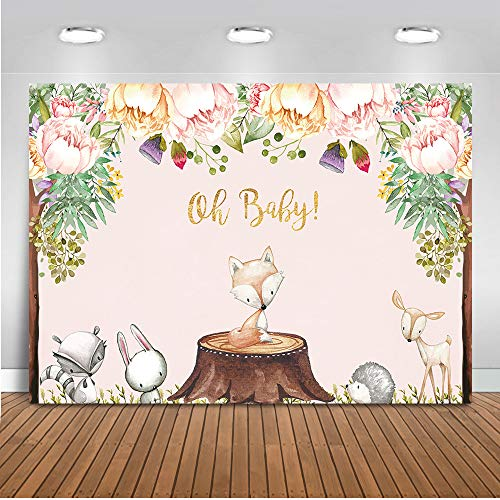 Mehofoto Woodland Floral Baby Shower Backdrop Woodland Animals Baby Shower Photography Background 7x5ft Vinyl Woodland Baby Shower Party Backdrops]()