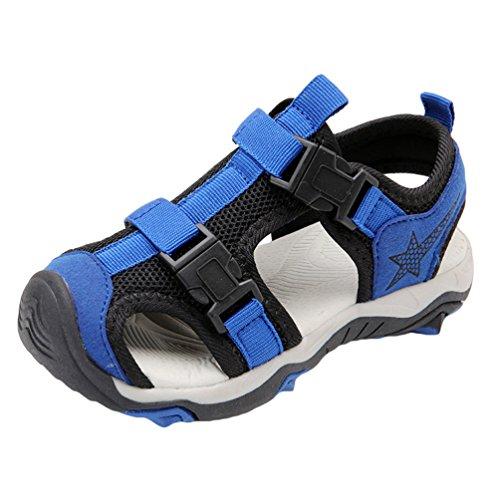 YiLianDa Sandalias para Niños Sandalias de Cuero para Niño Anti-deslizante Zapatos de Playa Azul