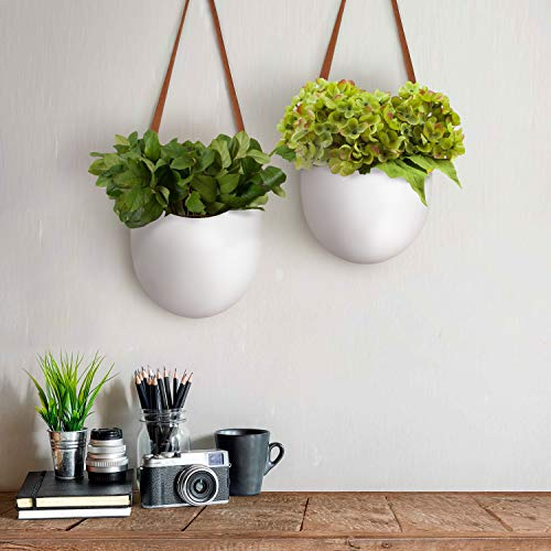 Wall Hanging Planters – Modern Wall Decor 7.5 X 5.7 Inch Unglazed Ceramic Air Plant Holder Indoor, Succulent Pot with Leather Strap, Set of 2