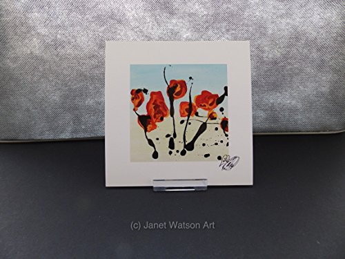 Printed Modern Poppies (One Red Contemporary Poppies Print by Janet Watson Art; Professionally printed on white card; Size: 15cm x 15cm Square / 6in x 6in Square ; Print only - No frame)