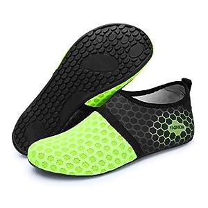 L-RUN Unisex Water Shoes Barefoot Skin Shoes For Dive Surf Swim Beach Yoga (XXL(W:12-13,M:9-9.5), Dot Green)