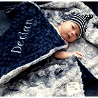 Gray Baby Blanket, baby blanket, Personalized Baby Blanket, Farm house Baby Blanket, baby shower gift, Double Minky Plush baby blanket, Newborn Baby Blanket Gift