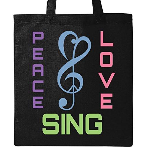 (Inktastic - Choir Director Gift Peace Love Sing Music Tote Bag Black)