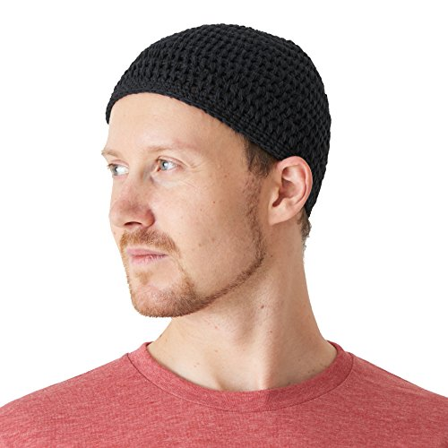 - CHARM Cotton Skull Cap for Men - Crochet Kufi Hat Mens Beanie Prayer Hat Knit Soft Sensitive Skin Chemo Black