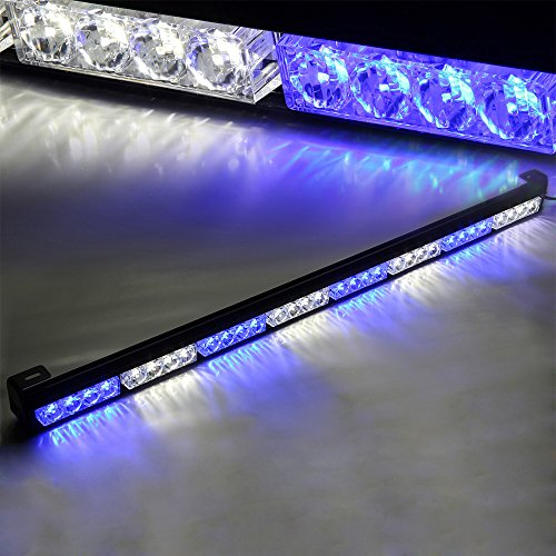 "UPC 799418335735, Xprite 35.5"" White & Blue 7 Modes Traffic Advisor / Advising Emergency Warning Vehicle Strobe Top Roof Light Bar Kit"