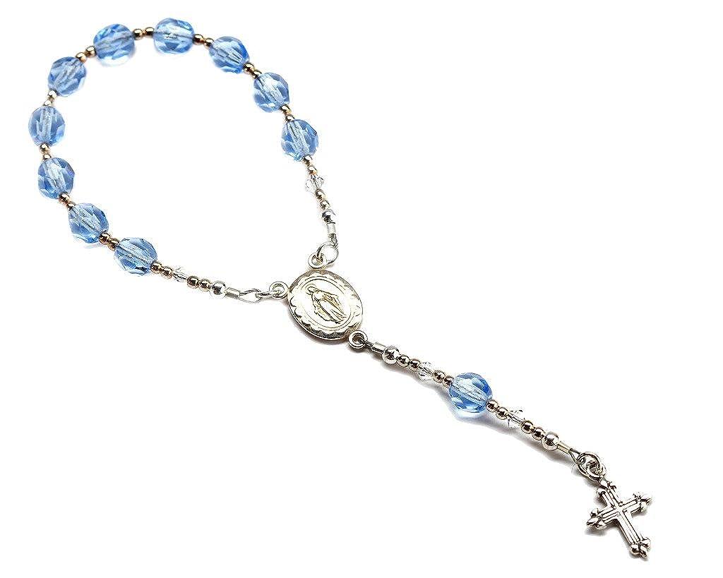 Précieuses pièces de bébé Argent sterling baptême bébé Chapelet en bleu Precious Pieces BR-038-B