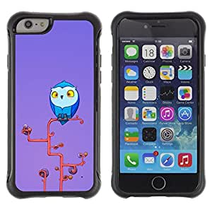 LASTONE PHONE CASE / Suave Silicona Caso Carcasa de Caucho Funda para Apple Iphone 6 / Owl Blue Big Eyes Yellow Art Tree Branch