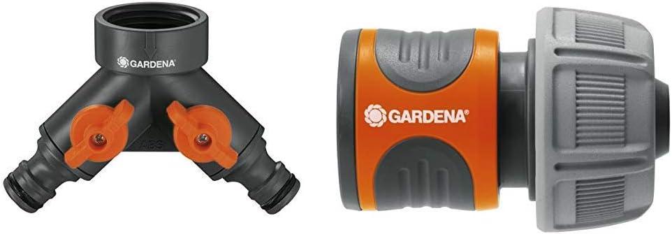 beide Ausg/änge regulierbar G 3//4 Zoll Wasserverteiler f/ür Wasserhahn mit 26,5 mm Gewinde 938-20 f/ür gleichzeitigen Anschluss von zwei Ger/äten Gardena 2-Wege-Ventil
