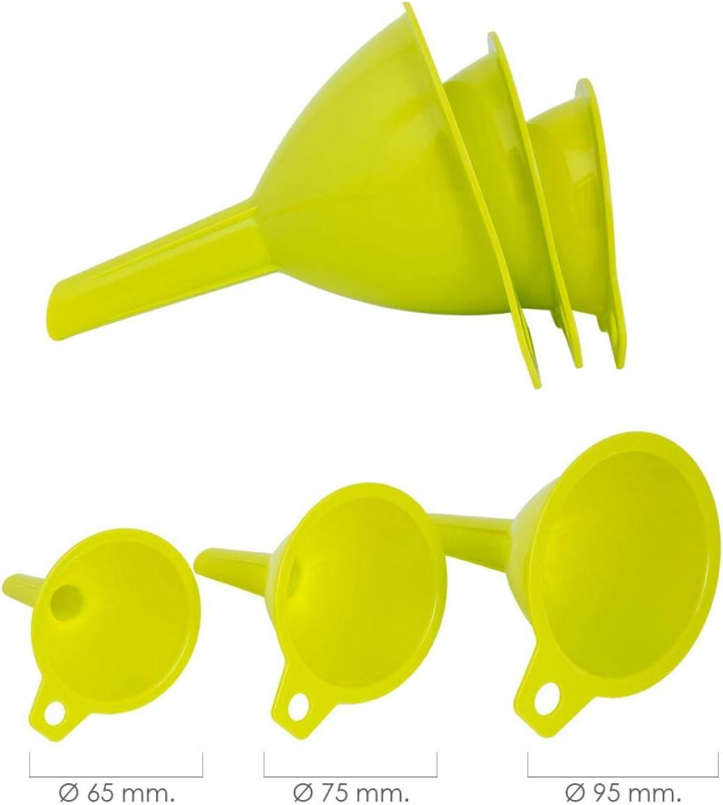 Oryx 5071075 Embudos Plástico Cocina Ø 65 / 75 / 95 mm. (Set 3 Embudos)