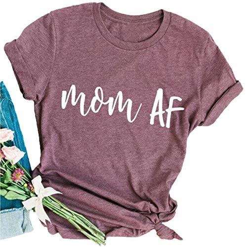 Mom AF Shirt Mom Life T Shirt Top Women Short Sleeve Casual Funny T Shirt Tee Size L (Red)