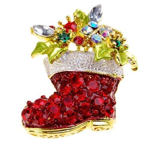 O.D Christmas Austrian Crystal Red Santa Claus Stocking Boot Brooch Pin