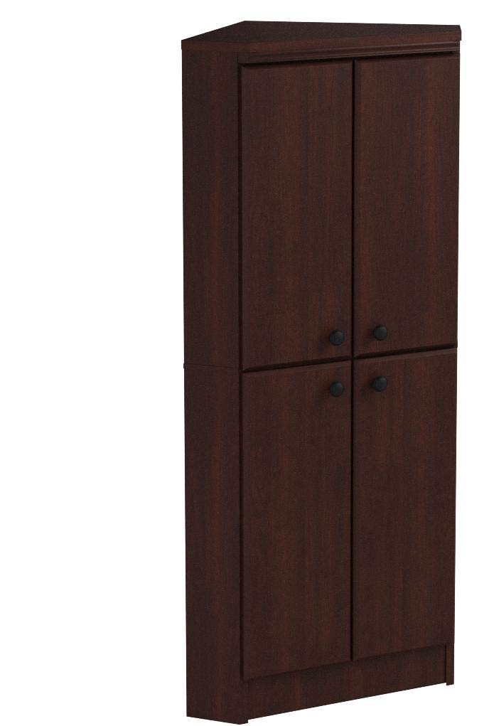 South Shore 4-Door Corner Armoire for Small Space with Adjustable Shelves, Royal Cherry by South Shore (Image #7)