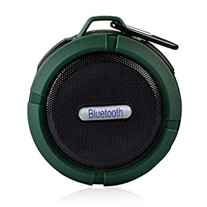 Honyi portátiles 5W impermeable mini altavoz Bluetooth 3.0 estéreo al aire libre-altavoz micrófono manos libres a prueba de choques a prueba de polvo con ventosa para viajes al aire libre Escalada bicicleta Camping (Verde)