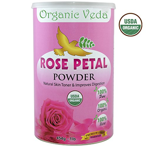 Organic Rose Petal Powder 16 Ounce - 1 Lb.  USDA Certified Organic  100% Pure and Natural Herbs Raw Organic Super Food Supplement. Non GMO. Gluten FREE. US FDA Registered Facility. ALL NATURAL!