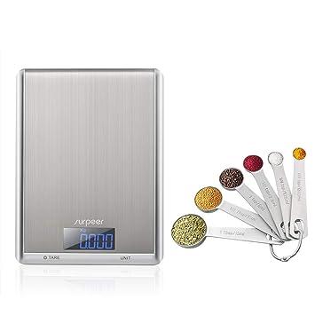 SURPEER Bascula Cocina Digital, Peso Cocina Digital,10kg/22lbs,Balanza Precision,