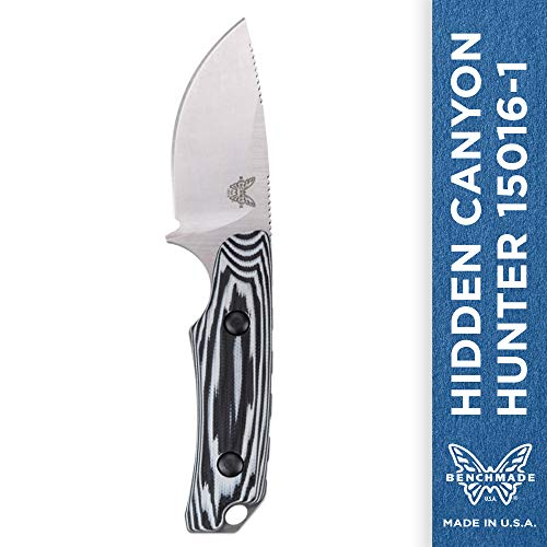Benchmade - Hidden Canyon Hunter 15016-1 Compact Fixed Hunting Knife Made in USA with Kydex Belt Loop Sheath with Buckle, Drop-Point Blade, Plain Edge, Satin Finish, G10 Handle